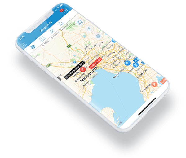 Connect Fleet GPS Tracking UX on a smartphone