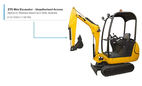 Mini excavator with notification attached saying unauthorised use