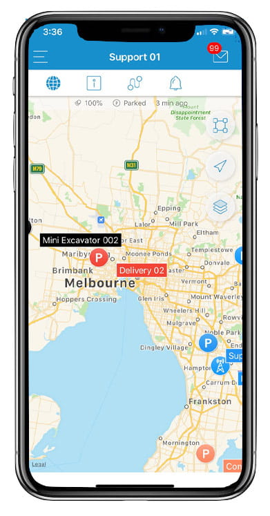GPS map visible on mobile device