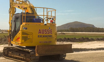 Aussie Excavators plant hire asset on site at Sunshine Coast