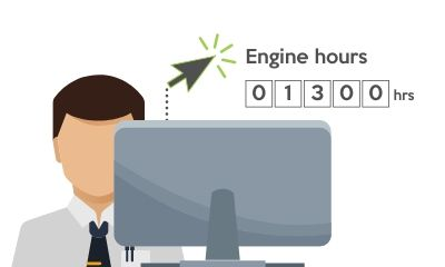 Illustration of man checking engine hours at desktop