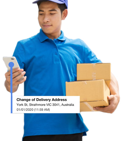Field service management software with proof of delivery feature showing change of delivery address