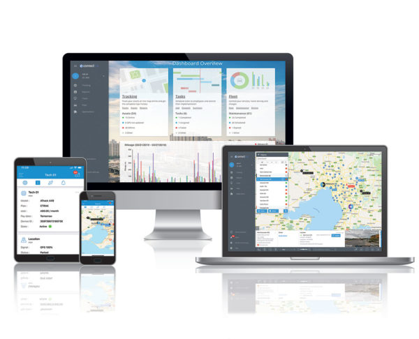 ConnectTrak GPS asset tracking and fleet management platform displayed on multiple devices