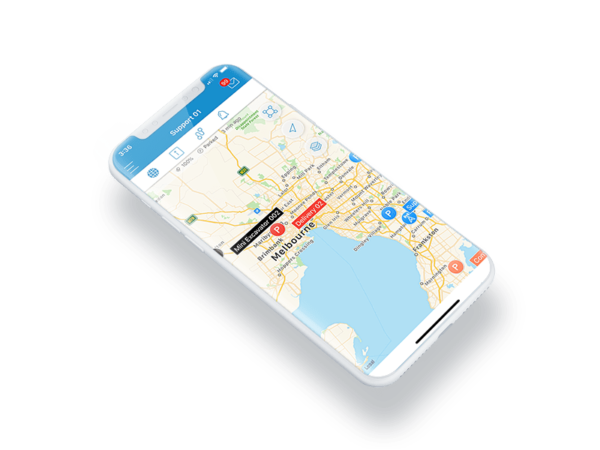 Asset tracking map on a smart phone