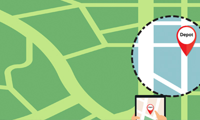 Illustration of a GPS marker within a geofence