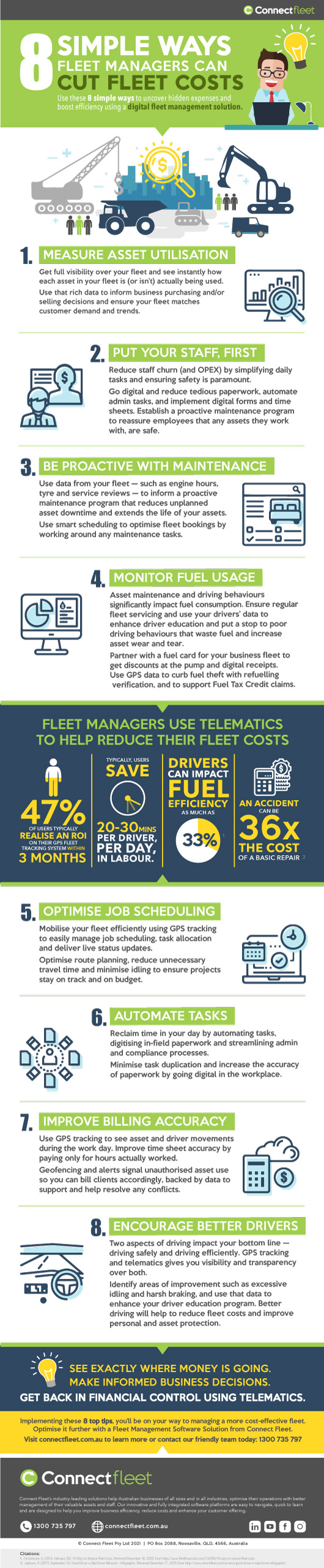 8 simple ways to cut fleet costs infographic by Connect Fleet